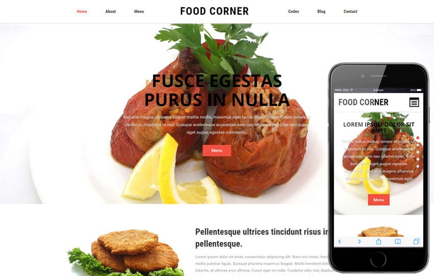 Food Corner a Restaurant Category Flat Bootstrap responsive Web Template Mobile website template Free