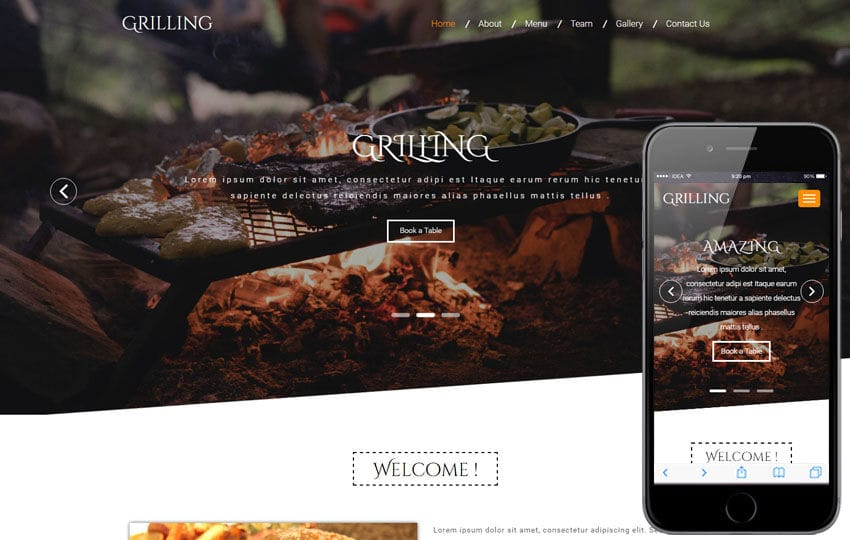 Grilling a Restaurant Category Bootstrap Responsive web Template Mobile website template Free