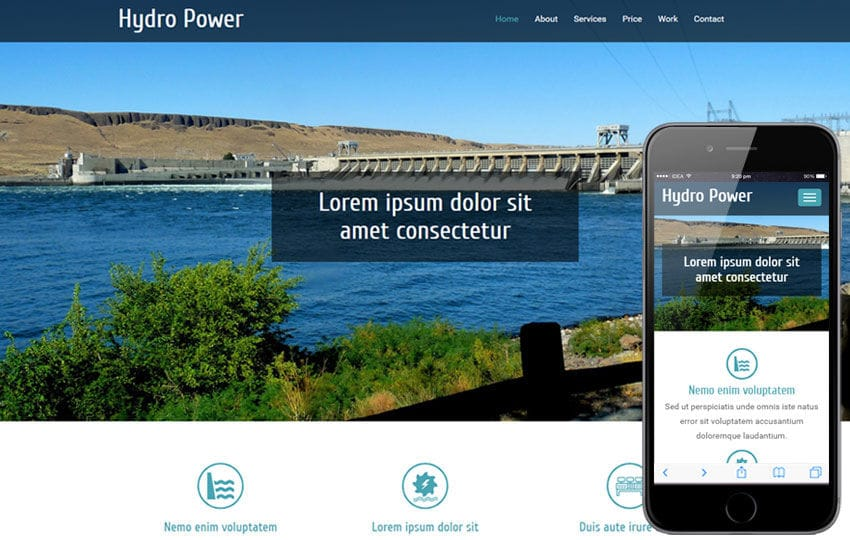 Hydro Power An Industrial Category Flat Bootstrap Responsive  Web Template Mobile website template Free