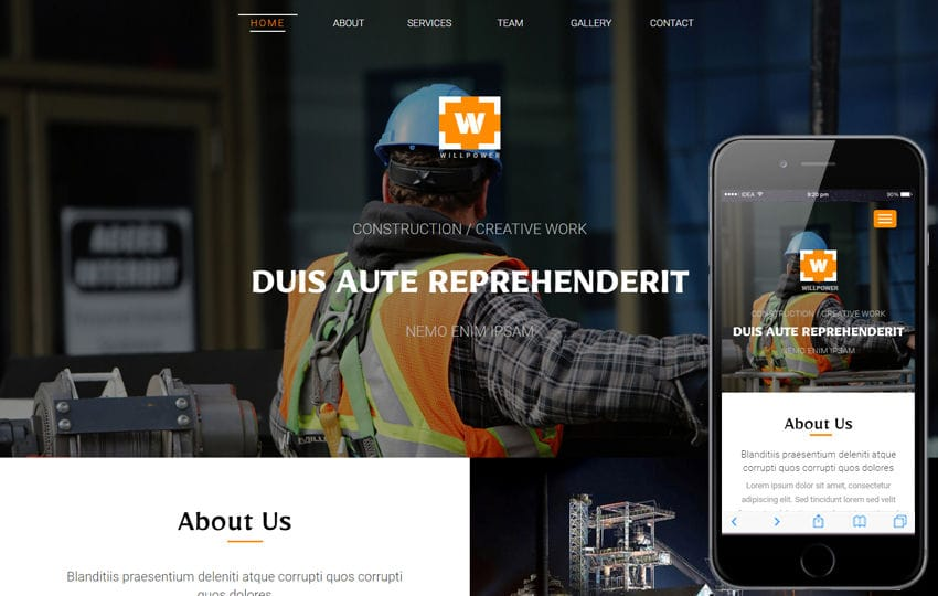 Willpower an Industrial Category Flat Bootstrap Responsive web Template Mobile website template Free
