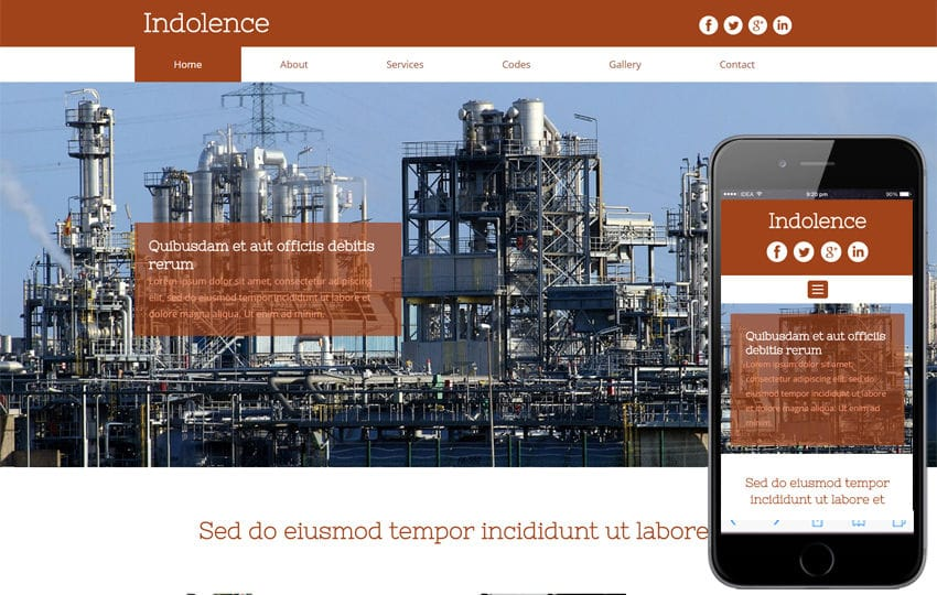 Indolence an Industrial category Flat bootstrap Responsive  Web Template