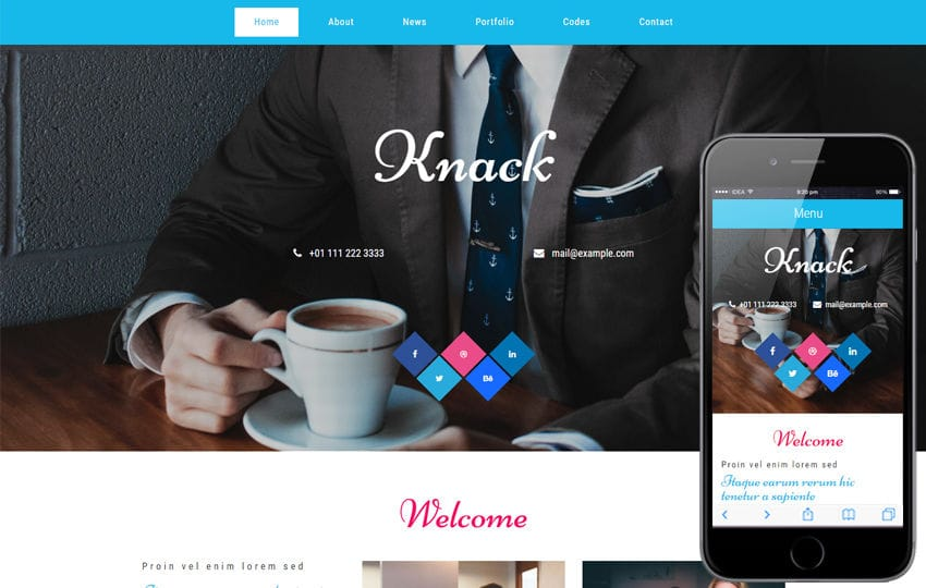 Knack a Corporate Business Category Flat Bootstrap Responsive Web Template Mobile website template Free