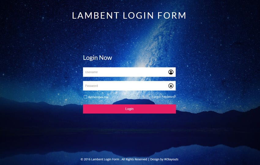 Lambent Login Form a Flat Responsive Widget Template Mobile website template Free