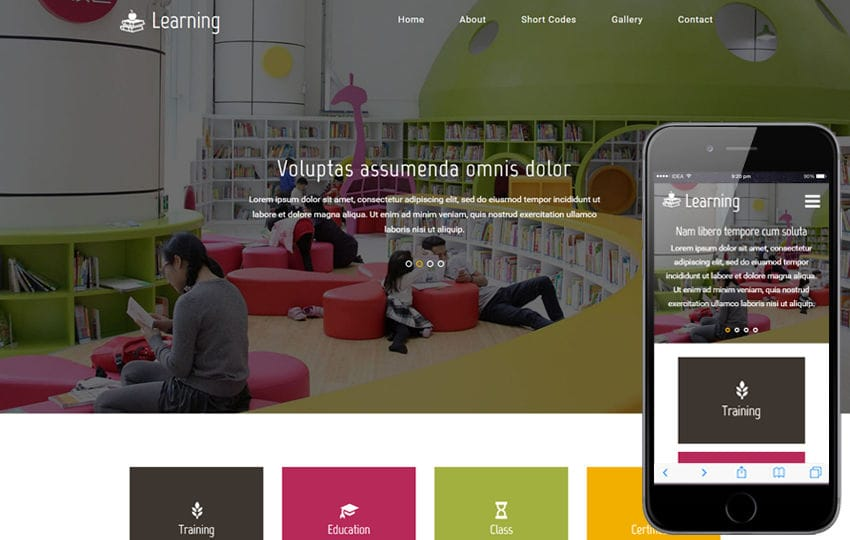 Learning An Education Category Flat Bootstrap Responsive  Web Template Mobile website template Free