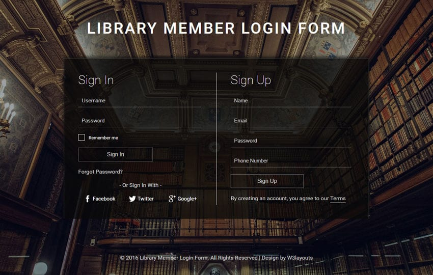 Library Member Login Form A Flat Responsive Widget Template Mobile website template Free