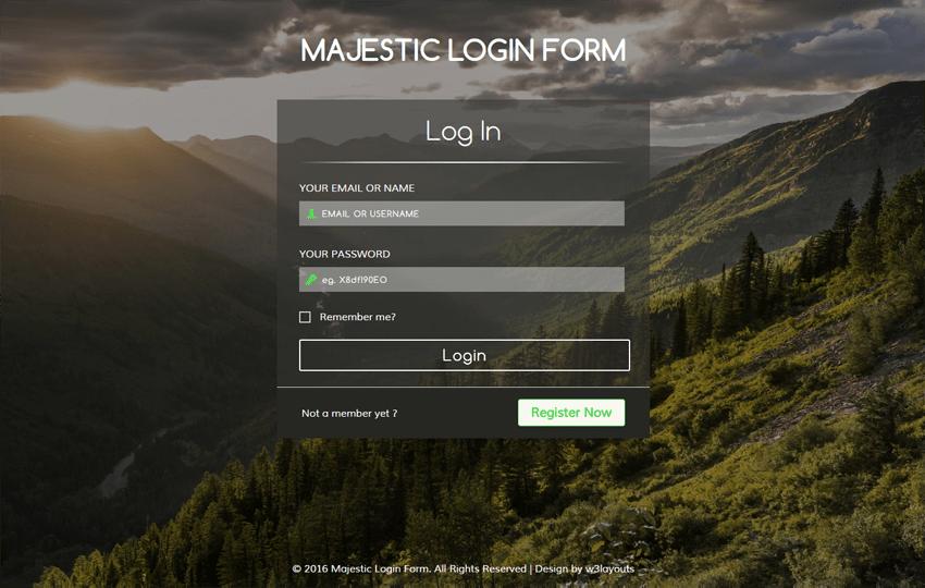 Majestic Login Form Flat Responsive widget Template Mobile website template Free