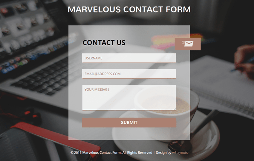 Marvelous Contact Form Flat Responsive widget Template Mobile website template Free