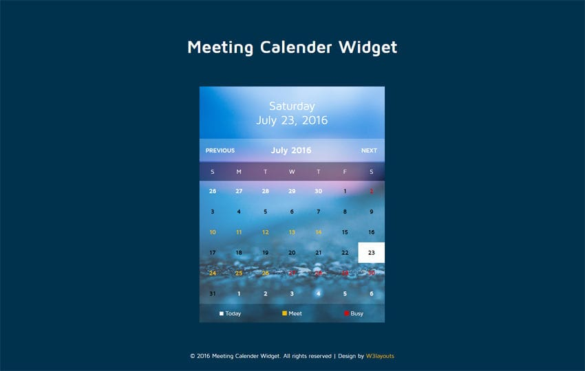 Meeting Calendar Widget Flat Responsive Widget Template Mobile website template Free