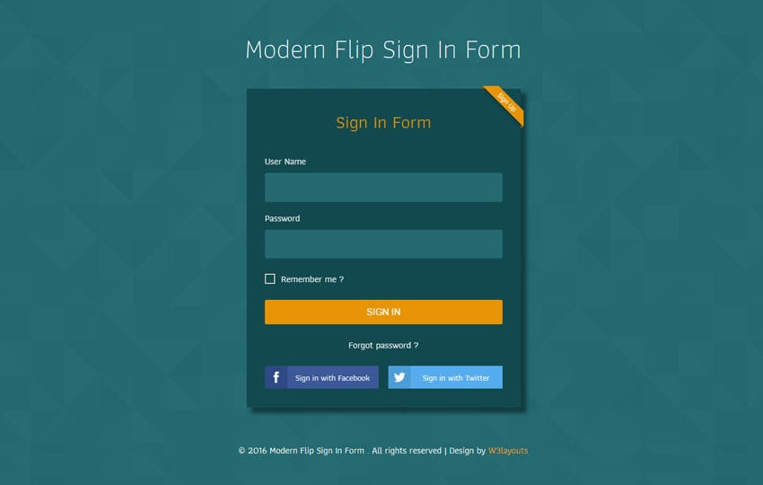 Modern Flip Sign In Form Flat Responsive Widget Template Mobile website template Free