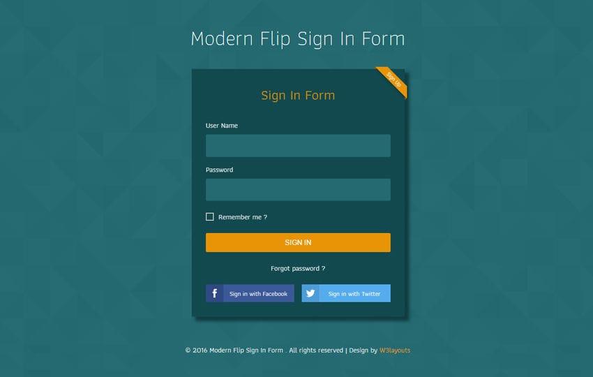 modern flip sign in form flat responsive widget template