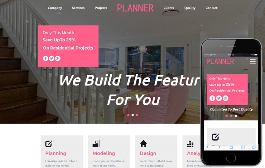 Planner An Interior Category Flat Bootstrap Responsive Web Template Mobile website template Free