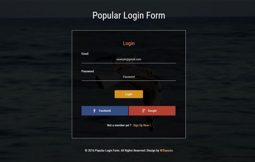 Popular Login Form Widget Flat Responsive Widget Template Mobile website template Free