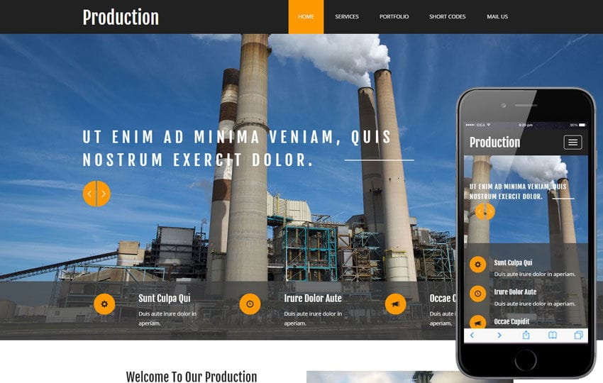 Production a Industrial Category Flat Bootstrap Responsive Web Template Mobile website template Free