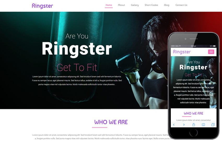 Ringster a Sports Category Flat Bootstrap Responsive Web Template Mobile website template Free