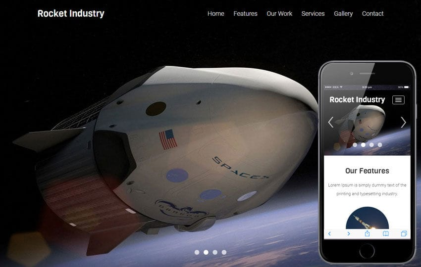 Rocket Industry A Industrial Category Flat Bootstrap Responsive Web Template Mobile website template Free
