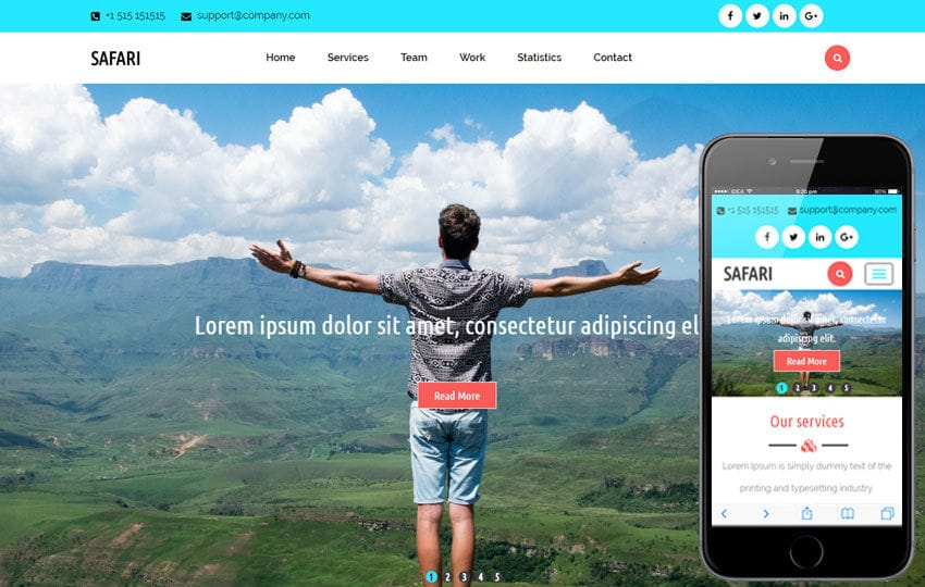 Safari A Travel Category Flat Bootstrap Responsive  Website Template Mobile website template Free