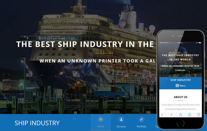 Ship Industry A Industrial Category Flat Bootstrap Responsive Web Template Mobile website template Free
