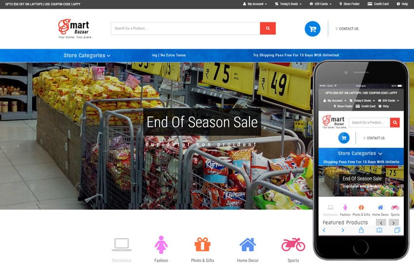 Smart Bazaar an E-commerce Shopping Category Bootstrap Responsive Web Template Mobile website template Free