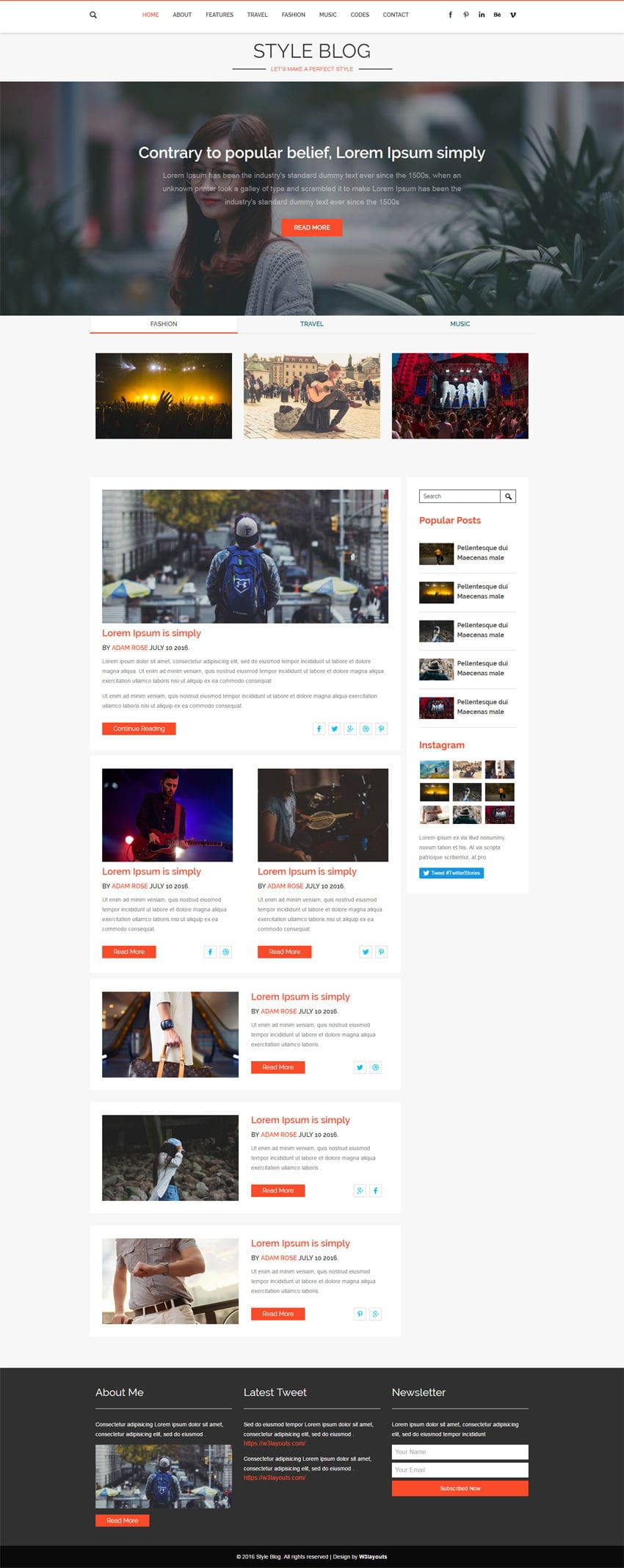 Style Blog A Blogging Category Flat Bootstrap Responsive Web Template