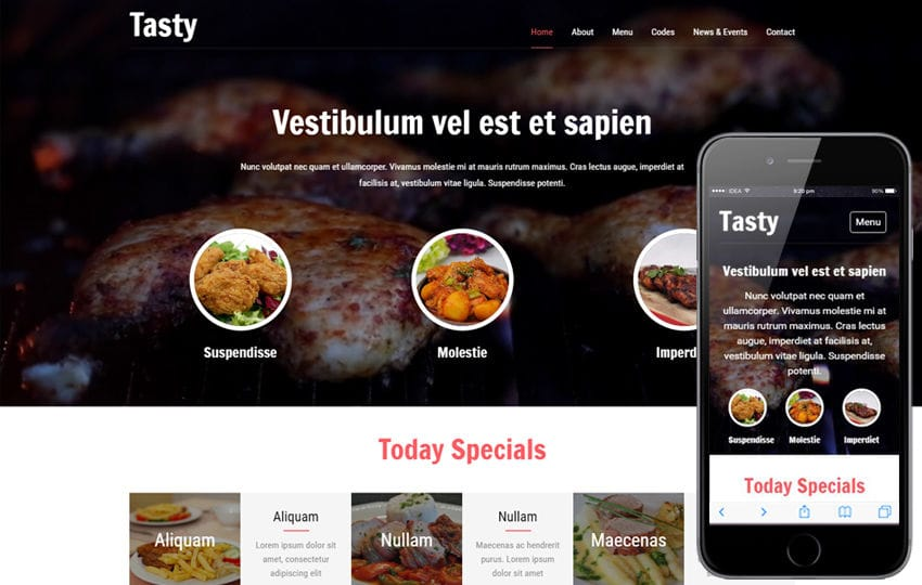 Tasty a Restaurants Category Flat Bootstrap responsive Web Template Mobile website template Free