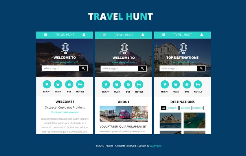 Travel hunt a mobile app flat bootstrap responsive web for Home design website free