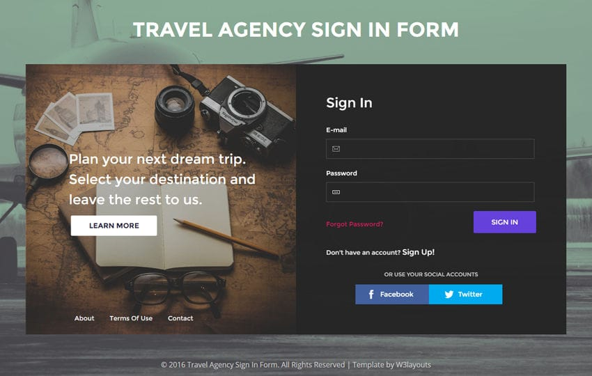 Travel Agency Sign In Form A Flat Responsive Widget Template Mobile website template Free
