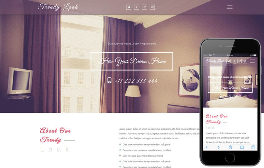 Trendy Look a Interior Category Flat Bootstrap Responsive web Template Mobile website template Free