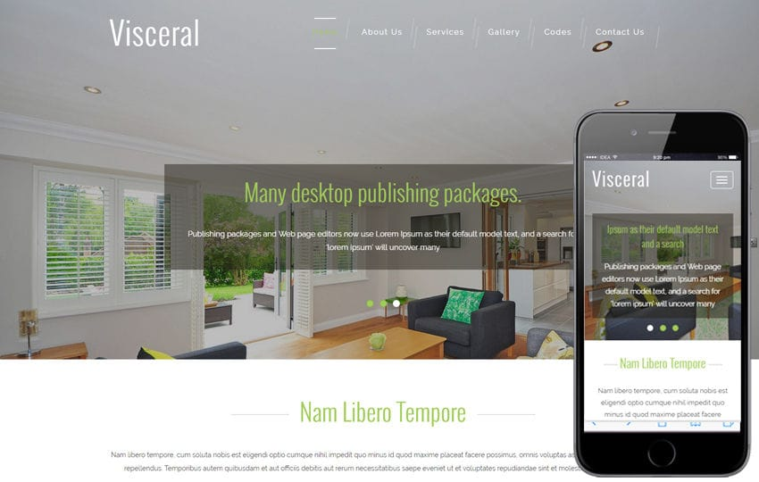 Visceral An Interior Category Flat Bootstrap Responsive Web Template Mobile website template Free