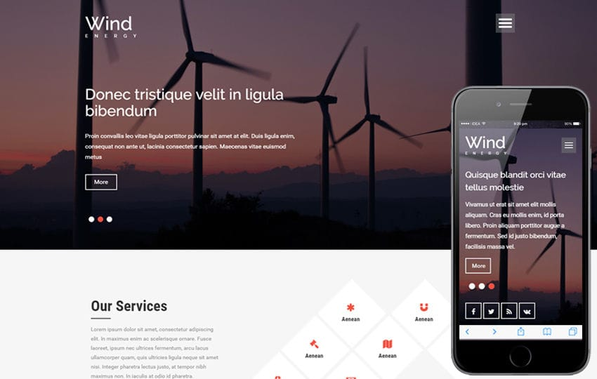 Wind Energy a Industrial Category Flat Bootstrap responsive Web Template Mobile website template Free