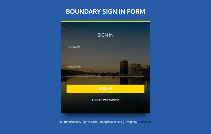 Boundary Sign in Form Flat Responsive Widget Template Mobile website template Free