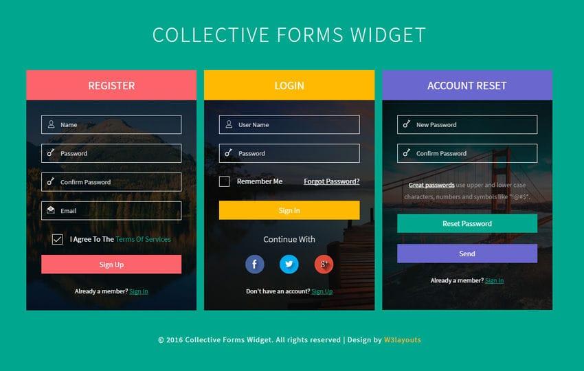 Collective Forms Widget Flat Responsive Widget Template Mobile website template Free