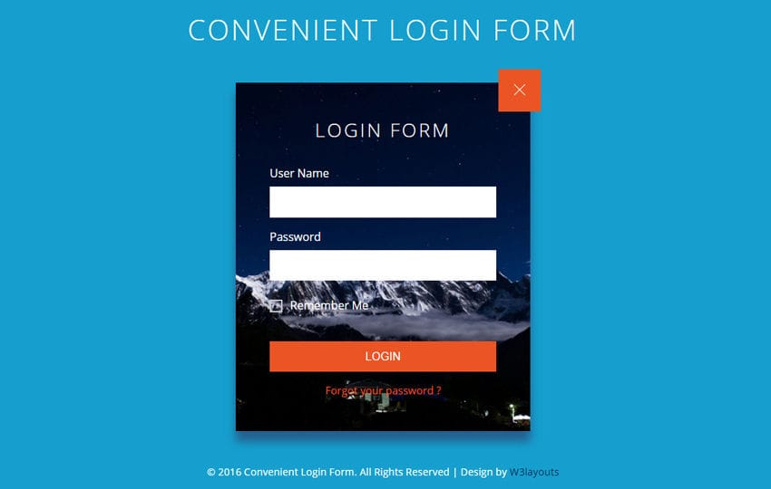 Convenient login form flat responsive widget template for Aspx login page template