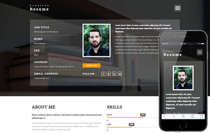 creative resume a personal category bootstrap responsive web template - Resume Web Template
