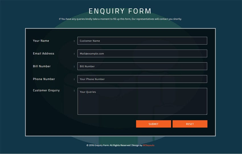 Enquiry Form Flat Responsive widget Template Mobile website template Free