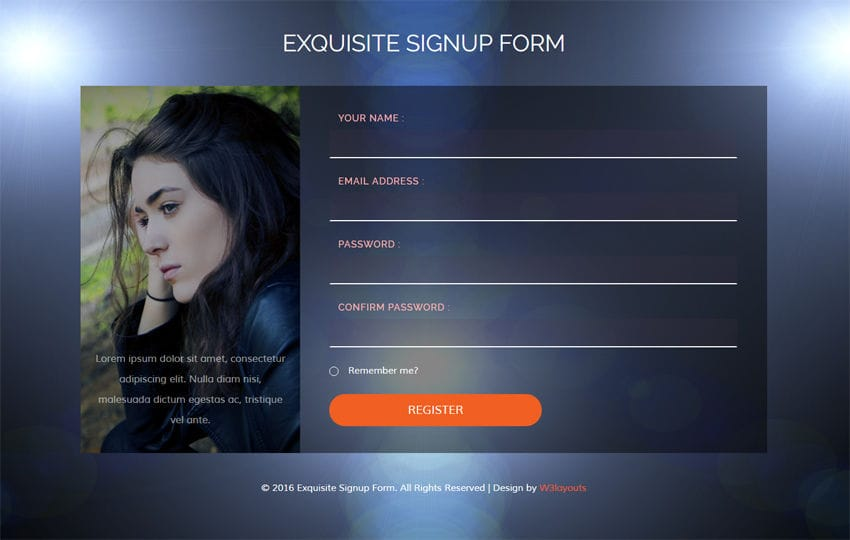Exquisite Signup Form Flat Responsive widget Template Mobile website template Free