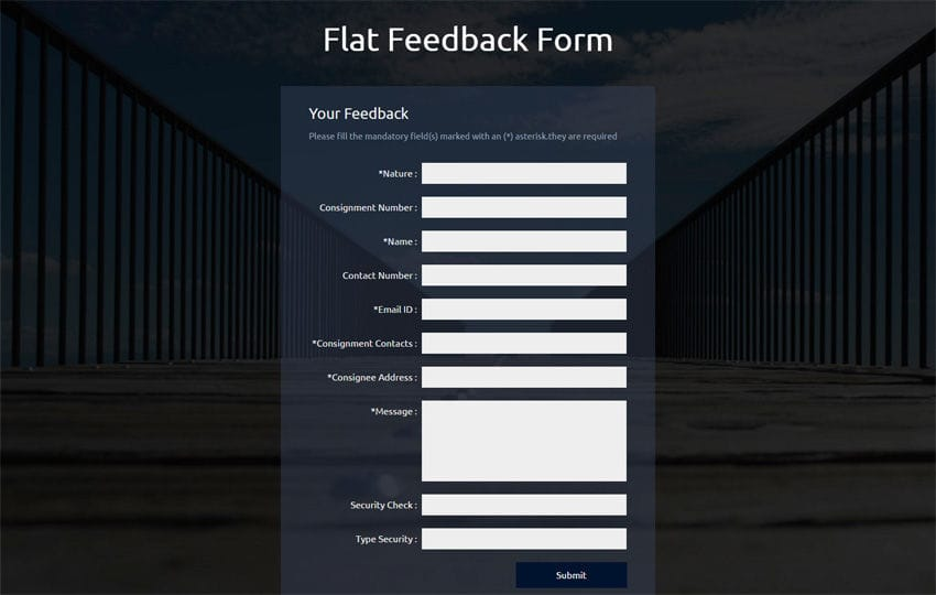 Flat Feedback Form Responsive Widget Template
