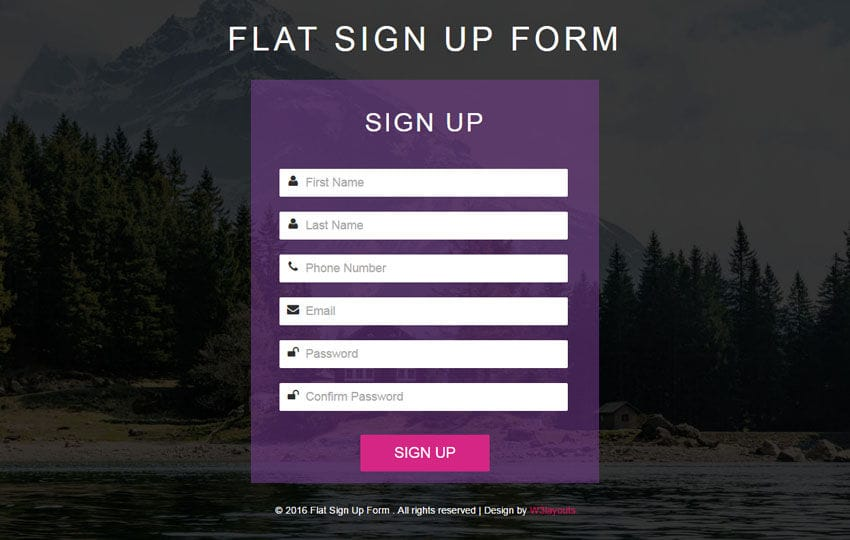 Flat Sign Up Form Responsive Widget Template Mobile website template Free