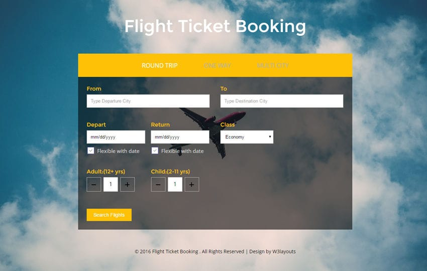 flight ticket booking a flat responsive widget template. Black Bedroom Furniture Sets. Home Design Ideas
