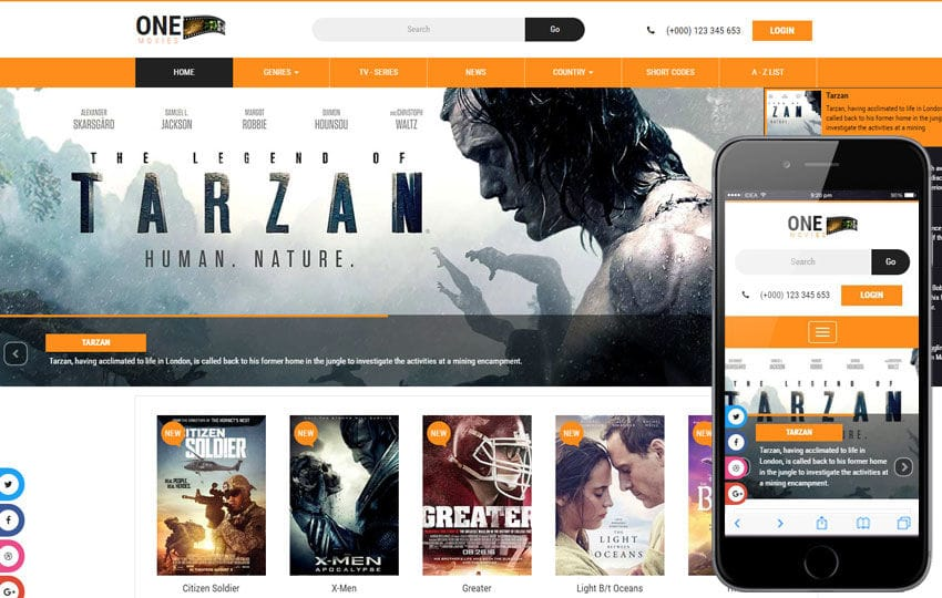 one movies an entertainment category bootstrap responsive web template