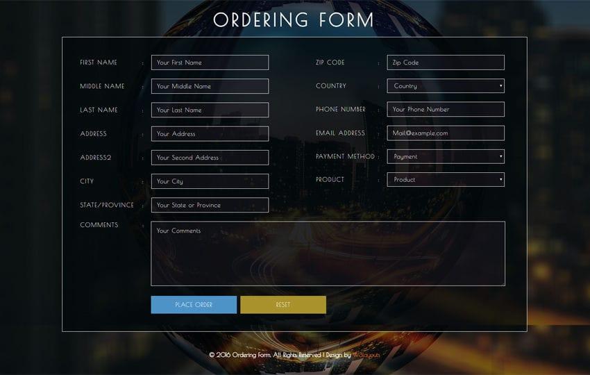 Ordering Form Flat Responsive widget Template Mobile website template Free