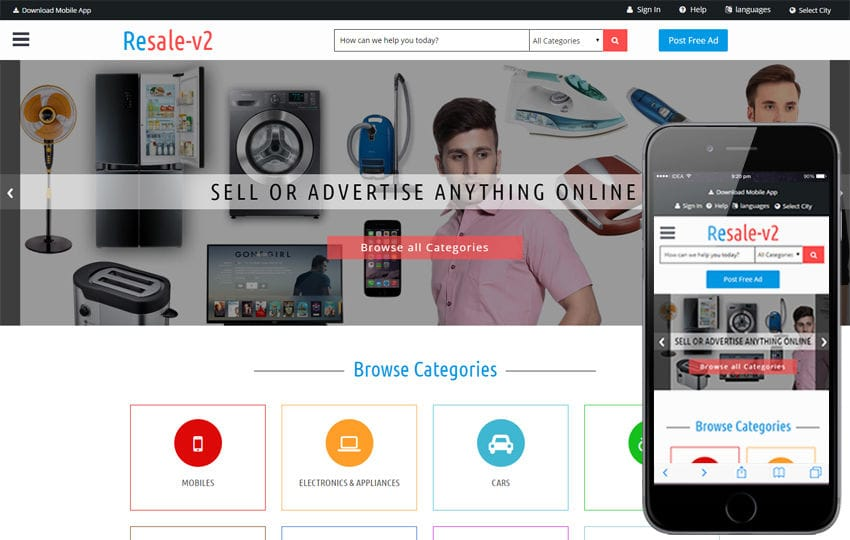 Classifieds and advertising portal html5 responsive web templates resalev2 a classified ads category bootstrap responsive web template mobile website template free maxwellsz