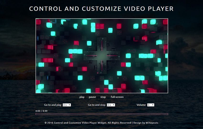 Control and Customize Video Player Responsive Widget Template Mobile website template Free