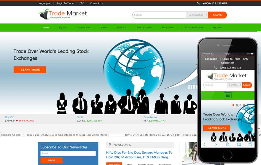 Trade market a corporate business bootstrap responsive web template flashek Image collections