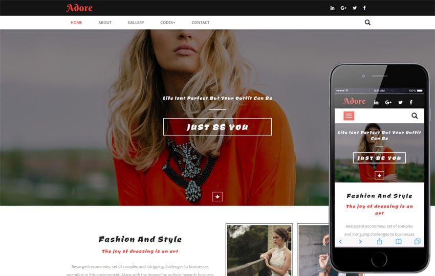 Adore a Fashion Category Bootstrap responsive Web Template Mobile website template Free