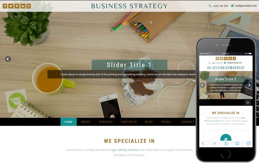 Business Strategy a Corporate Category Bootstrap Responsive Web Template Mobile website template Free