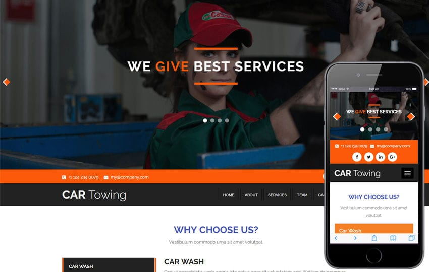 Car Towing an Auto Mobile Category Bootstrap Responsive  Web Template Mobile website template Free