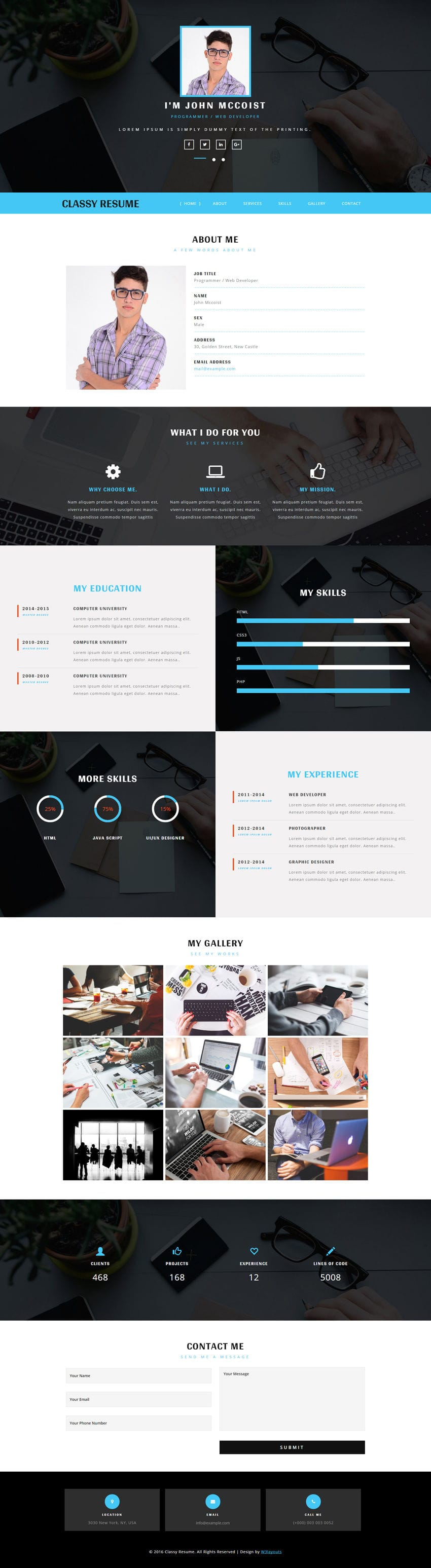 classy resume a personal category bootstrap responsive web template - Resume Web Template