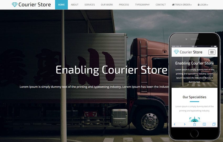 Courier Store a Corporate Business Bootstrap Responsive Web Template Mobile website template Free