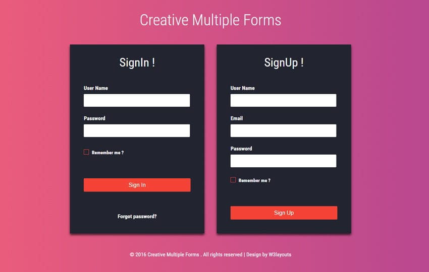 Creative Multiple Forms Flat Responsive Widget Template Mobile website template Free