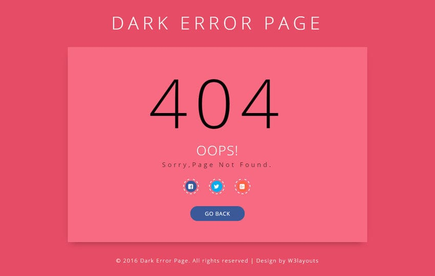Dark Error Page Responsive Widget Template Mobile website template Free